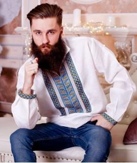 Мужская вышиванка Гетьман  (лен, ручная вышивка)
