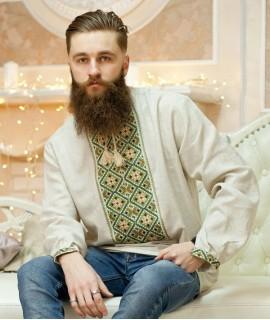 Мужская вышиванка Оливковая (ручная вышивка)