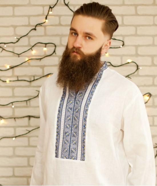 Мужская вышиванка  (лен, ручная вышивка)